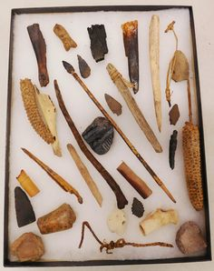 """435: Hohokam Collection, pre-historic items. Made of corn, stone, wood, bone, clay and rawhide, the items measure 1"""" to 11.5"""". Hohokam, Arizona. Rare clay doll, arrowshaft straightener, arrow foreshaft, bone awl. Cave find near Tucson, Arizona in the 1950s on private land. Condition: As found, see images. Shipping: $24.50 w/insurance and signature. Tucson Arizona, Clay Dolls, Straightener, Arrow, Cave, 1950s, Auction, Stone, Batu"""