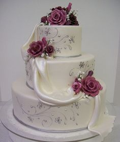 round 4 inch tall cake with fondant swag and gum paste roses. Amazing Wedding Cakes, Fall Wedding Cakes, Wedding Cake Decorations, Elegant Wedding Cakes, Wedding Cake Designs, Amazing Cakes, Gorgeous Cakes, Pretty Cakes, Cute Cakes