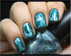 pretty swirly blue nail polish OPI Moon Lagoon and Saint-George of England
