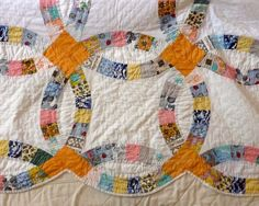Double Size Antique Vintage WEDDING RINGS Gorgeous Quilt 100% Cotton, EBay,  Myping