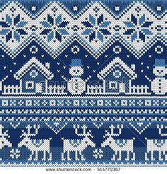 Christmas Seamless pattern with ornaments of a Jacquard knitting. Image of a hou… Christmas Seamless pattern with ornaments of a Jacquard knitting. Image of a house, snowman, moose, star, snowflake on a blue background. Knitting Charts, Knitting Patterns, Crochet Patterns, Christmas Knitting, Christmas Sweaters, Crochet Snowman, Blue Backgrounds, Cross Stitch Patterns, Embroidery