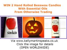 WIN 2 Hand-Rolled Natural Beeswax Samhain Candles from Otherwise Trading via Kelly Martin Speaks  #win #samhain #halloween #OtherwiseTrading #KMS