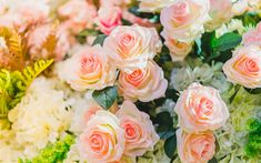 Download wallpapers pink roses, beautiful flowers, roses, bouquets of roses