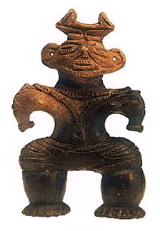 "Japanese ceramic figurine ""DOGU"".   B.C.3200 - 2800.   This figurine was unearthed on Kajisawa Miyagi Japan."