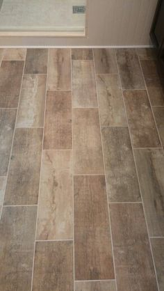 Wide plank tile for bathroom. Great grey color! Great option if ...