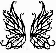 printable fairy wings template | Fairy wings tattoo stencil 28 (click for full size)