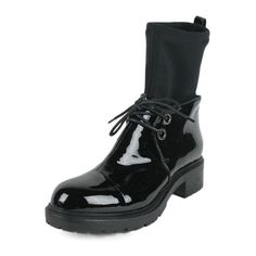 Pre-Owned Giorgio Armani Black Patent Leather Nylon Trim  Shoe Boots... (395 AUD) ❤ liked on Polyvore featuring shoes, boots, black, giorgio armani, leather sole shoes, black stretch boots, stretch boots and mid-heel boots