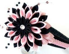 Kanzashi Fabric Flower headband. Red and white. by JuLVa on Etsy