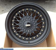 BBS, fantastic rims for cars. Big bold letters to make up their logotype. Rims And Tires, Rims For Cars, Wheels And Tires, Vw Mk1, Volkswagen, Custom Wheels, Custom Cars, Big Black Car, Black Cars