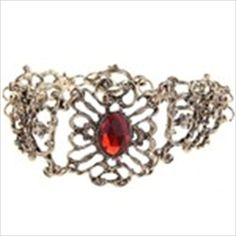 Vintage Style Bracelet Hand Chain Bangle Jewelry with Red Rhinestone for Lady Woman