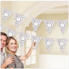 Create your own pennant banner with personalization with our Elegant Silver Scroll Personalized Banner Kit. Numbers and letter stickers included.