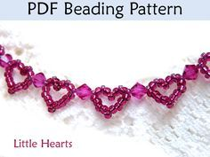 Beading Pattern, Heart Bracelet Beading Tutorial, Jewelry Making, Beaded Bracelets, Patterns, Tutorials. Seed Beads. Simple Bead Patterns