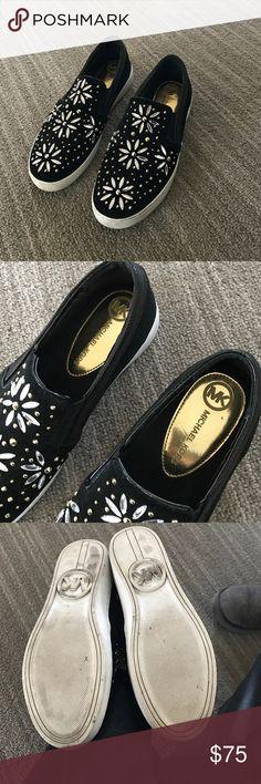 Michael kors sneakers Michael kors sneakers with flower stones. So pretty. Great condition. Worn maybe 2 times Michael Kors Shoes Sneakers