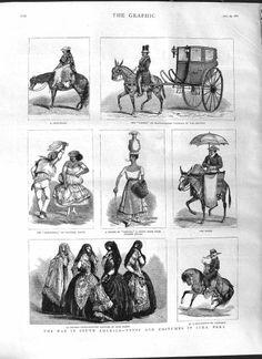 Antique Print of 1881 South America Costumes Lima Peru Baker Caleza