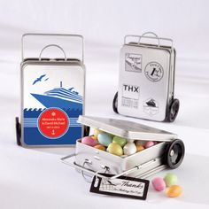 Personalized Mini Suitcase Favor Tins (Set of 12) (Kate Aspen 14031NA) | Buy at Wedding Favors Unlimited (http://www.weddingfavorsunlimited.com/miles_of_memories_suitcase_mint_tins.html).