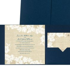 burlap and lace pocket wedding invitation - navy shimmer | rustic wedding invites at Invitations By Dawn