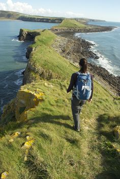 Hike. Wales Coast Path at Worm's Head