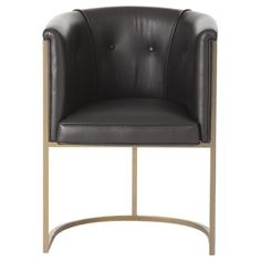 Black LeatherDimensions: H: 32'' • W: 24'' • D: 21''Item Weight: 25Material: Leather/Stainless Steel,Calvin Top Grain/Antique Brass Chair, Arteriors, calvin, Chair, Lounge
