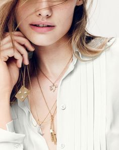 J.Crew women's mail bird, starry plat pendant, moon pendant, and mini