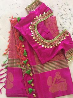 blouse designs latest Latest kasu work blouse design - The handmade craft Latest kasu work blouse design - The handmade craft Cutwork Blouse Designs, Kids Blouse Designs, Pattu Saree Blouse Designs, Hand Work Blouse Design, Simple Blouse Designs, Stylish Blouse Design, Blouse Neck Designs, Bridal Blouse Designs, Sari Blouse