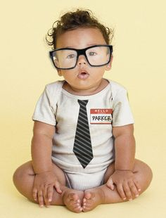 The New Guy - Tie Baby Onesie, Personalized Infant Geek, Custom Boy Tie Bodysuit - this shop is awesome!