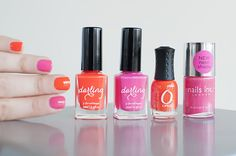 Nail Romance - Pink orange neon nail polish comparison