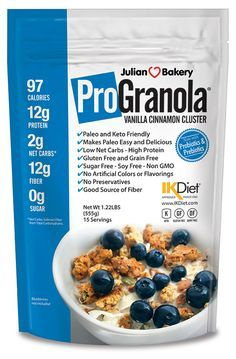 Julian Bakery ProGranola Vanilla Cinnamon Clusters - Finally a granola that is soy free, gluten free, grain free, low carb and delicious. Gluten Free Grains, Gluten Free Recipes, Low Carb Recipes, Sin Gluten, Stevia, Paleo Cereal, Cereal Recipes, Quinoa Cereal, Trix Cereal