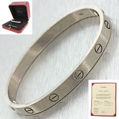 Authentic Cartier 18K White Gold Love Screw Bangle Bracelet Size 17 Box Papers