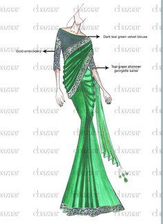 DIY Green Shimmer Georgette Saree
