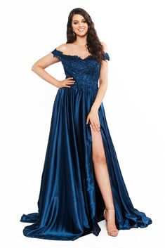 A&N Curve Freya Lace Off-Shoulder Satin Gown with Slit - Navy Curve Prom Dresses, Plus Size Prom Dresses, Formal Dresses, Satin Gown, Satin Dresses, Gown With Slit, Maxi Gowns, Satin Blouses, Lace Bodice