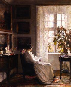 Reading in the Morning Light. Carl Vilhelm Holsøe (Danish, 1863-1935). Oil on canvas.