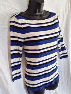 Laruen Ralph L pullover knit top size PETITE M black white blue stripe 3/4 slv #LaurenRalphLauren #KnitTop #Casual