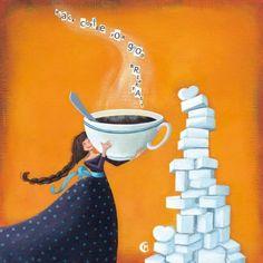 """Marie Cardouat  carte postale carrée (14 cm) """"Black coffee"""""""