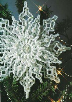 Plastic Canvas Snowflake.  Just like Grandma used to make (circa 1975).