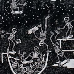 1m Alexander Henry Fabric - Skate Park Black White PER METRE Skateboard Skeleton in Crafts, Sewing & Fabric, Fabric | eBay