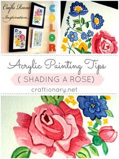 Art gallery with acrylic paints has instructions and tips on shading flowers and roses with acrylic paints and water based paint Painting on canvas tutorial