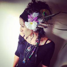 Festival tribal flower & feather fairy headdress by ShellysRelics