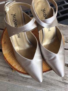 Women's Vintage Yves Saint Laurent Champagne Satin Rhinestone Strap Heel 6 5 | eBay