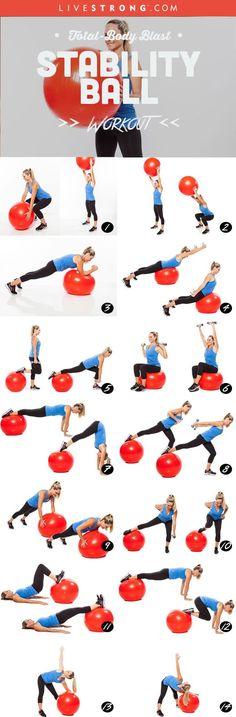 Fitness: Total-Body Blast Stability Ball Workout: www. Full Body Workouts, Fitness Workouts, Yoga Fitness, Fitness Home, At Home Workouts, Health Fitness, Fitness Diet, Blast Fitness, Fitness Motivation