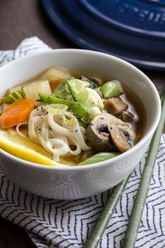 Asian Vegetable Noodle Soup is a light, meatless meal that is full of fresh ginger and lovely spring vegetables.