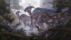 Raptors & Parasaurolophus Art by kerembeyit on DeviantArt Prehistoric Wildlife, Prehistoric World, Prehistoric Creatures, Dinosaur Images, Dinosaur Pictures, Dinosaur Art, Michael Crichton, Jurassic Park World, Extinct Animals