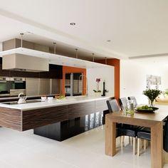 Ebony veneer and white kitchen