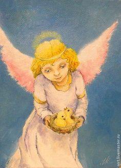 Ангел и Птенцы в гнезде Картина холст масло 13*18 cm  30 eur