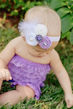 Baby  headband....The Ella Grace, Newborn Headband in lavender..vintage inspired headband ..baby hair bows. $15.00, via Etsy.