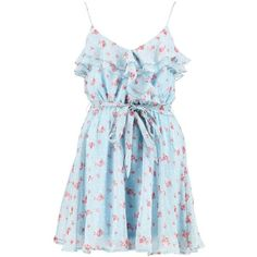 Boohoo Daisy Floral Chiffon Frill Skater Dress (2885 RSD) ❤ liked on Polyvore featuring dresses, casual dresses, floral bodycon dress, floral cocktail dresses, floral dresses, cocktail dresses and blue evening dresses