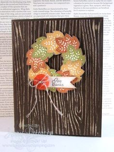 Give thanks leaf wreath card.