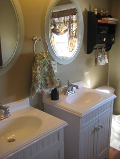 small double vanity for main floor bathroom? (not oval mirrors ...