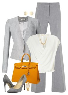 """""""Power Suit"""" by boxthoughts ❤ liked on Polyvore featuring River Island, TIBI, Thierry Mugler, L'Agence, Hermès, Ivanka Trump, Alexis Bittar and Kate Spade"""