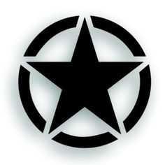 20 Inch Military Invasion Star With Circle Hood Jeep Decal