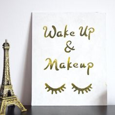 Wake Up and Makeup Wall Art. Closed eyes lashes design. Chic bedroom decor for teen girls. (Easter basket ideas for teens)